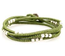 4 - Layer Knotted Wrap Silver Bead Bracelet Green Kaki