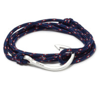 Silver Tone Hook Rope Navy Blue