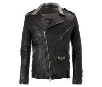 DUCATI Biker Leather Jacket Nero Silver