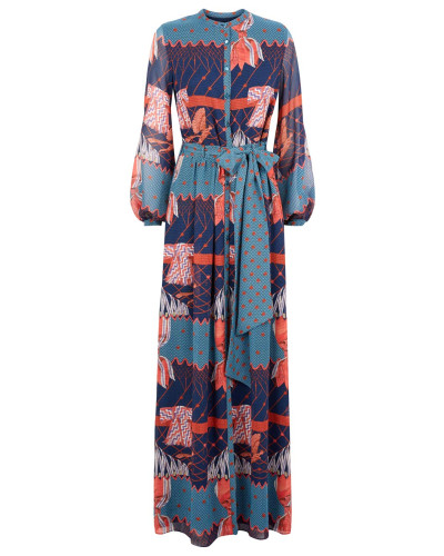 Aerial Printed Long Dress
