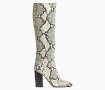 Stiefel mit Absatz aus Leder mit Schlangen-Print