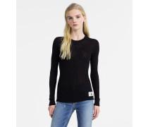 Rippstrick-Pullover aus Baumwoll-Seiden-Mix