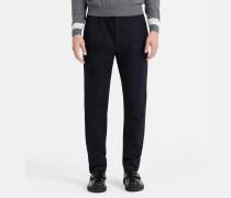 Taillierte Baumwoll-Hose mit Dobby-Muster