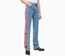 CKJ 030 High Rise Taped Straight Jeans