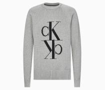 Pullover aus Baumwoll-Woll-Mix mit Monogramm