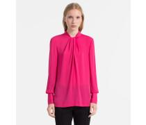 Chiffon-Bluse mit verdrehtem Ausschnitt