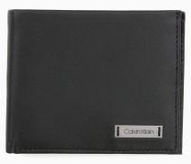 Schmales Portemonnaie aus Leder mit Plakette