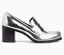 Loafers mit Absatz aus Metallic-Leder