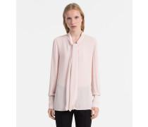 Chiffon-Bluse mit Ausschnitt zum Binden