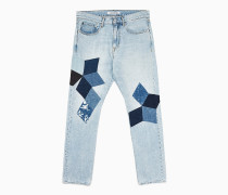 CKJ 056 Athletic Tapered Patchwork Jeans