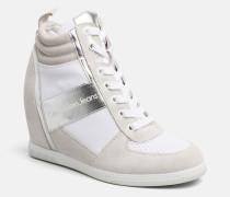 Wildleder-Sneakers mit Metallic-Borte