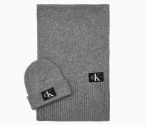 Geschenkset Schal und Beanie aus Wollgemisch