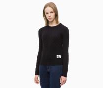 Zopfstrick-Pullover aus Lamwollgemisch