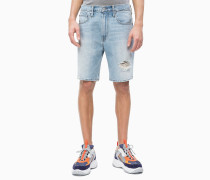 Gerade Denim-Shorts im Distressed-Look
