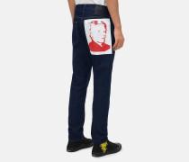 Athletic Tapered Jeans mit Warhol-Portrait