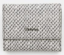 Dreifach faltbares Lederportemonnaie mit Schlangen-Print
