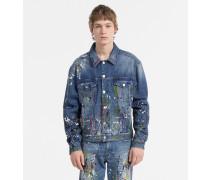 Denim-Jacke mit Farbspritzern