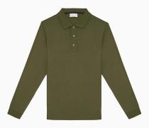Langärmeliges Poloshirt aus veredelter Baumwolle
