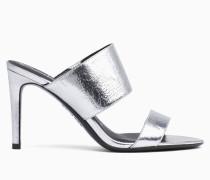 Sandalen mit Absatz aus Leder mit Metallic-Effekt