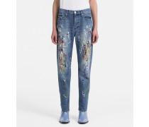 High Rise Straight Paint Splatter Jeans