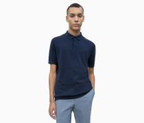 Strick Poloshirt aus Baumwoll-Seiden-Mix
