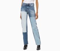 CKJ 030 High Rise Straight Jeans mit Aufnähern