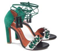 Sandale aus Leder und Veloursleder