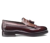 Loafer aus Leder und Krokodilleder