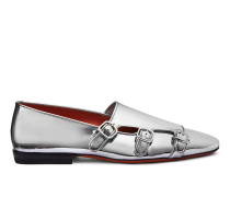 Loafer aus Metallic-Leder