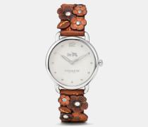Delancey Armbanduhr mit Lederarmband und Blumenapplikation