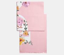 Rechteckiger Schal mit Blumen- und Schleifen-Print
