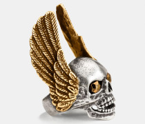 Oversize-Ring mit Flügeln und Totenkopf
