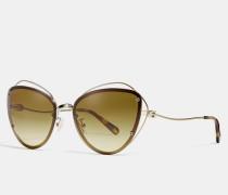 Katzenaugen-Sonnenbrille mit Zierdraht
