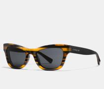 Katzenaugen-Sonnenbrille mit Glitzer und College-Streifen