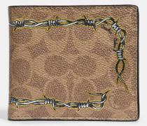 Doppelt gefaltetes Portemonnaie aus charakteristischem Canvas mit Tattoo