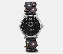 Delancey Leather Strap Watch With Floral Applique