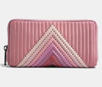 Gestepptes Akkordeon-Portemonnaie in Blockfarben mit ReiBverschluss und Nieten