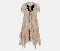 Stufiges Minikleid mit Rüschenärmeln