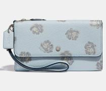 Kleine Tasche mit Handschlaufe, drei Fächern und Rosen-Print