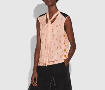 Ärmellose Bluse mit charakteristischem Kettenglied-Print und Ausschnitt zum Binden
