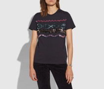 T-Shirt mit Zickzack-Verzierung