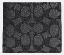 Kompaktes Portemonnaie aus charakteristischem Canvas mit Ausweisfach