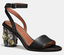 Sandale mit mittelhohem Absatz mit Teerosen