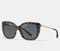Charakteristische, eckige Sonnenbrille mit Farbeffekt