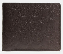 Compact Id Geldbörse In Signature Crossgrain Leather