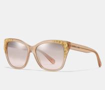 """Eckige Sonnenbrille mit Tea Rose""""-Metalldetails"""