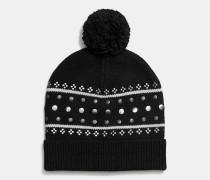 Verzierte Mütze mit Shetlandmuster