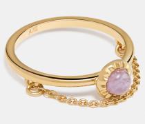 Sonnen-Ring mit 18-Karat-Goldlegierung und Zierkette