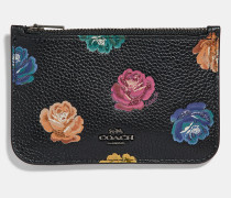 Zip Card Case With Rainbow Rose Print
