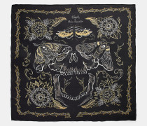 Quadratischer Oversize-Schal mit Tattoo-Totenkopf